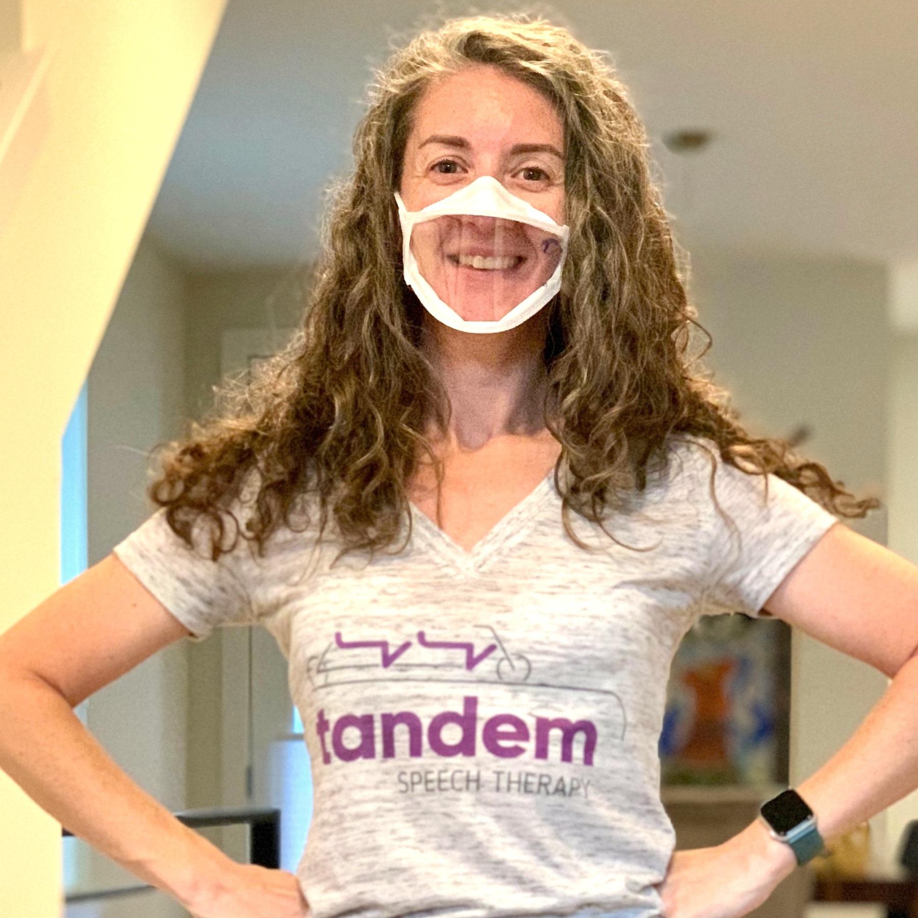 speech therapist Emily Cohen wearing a mask